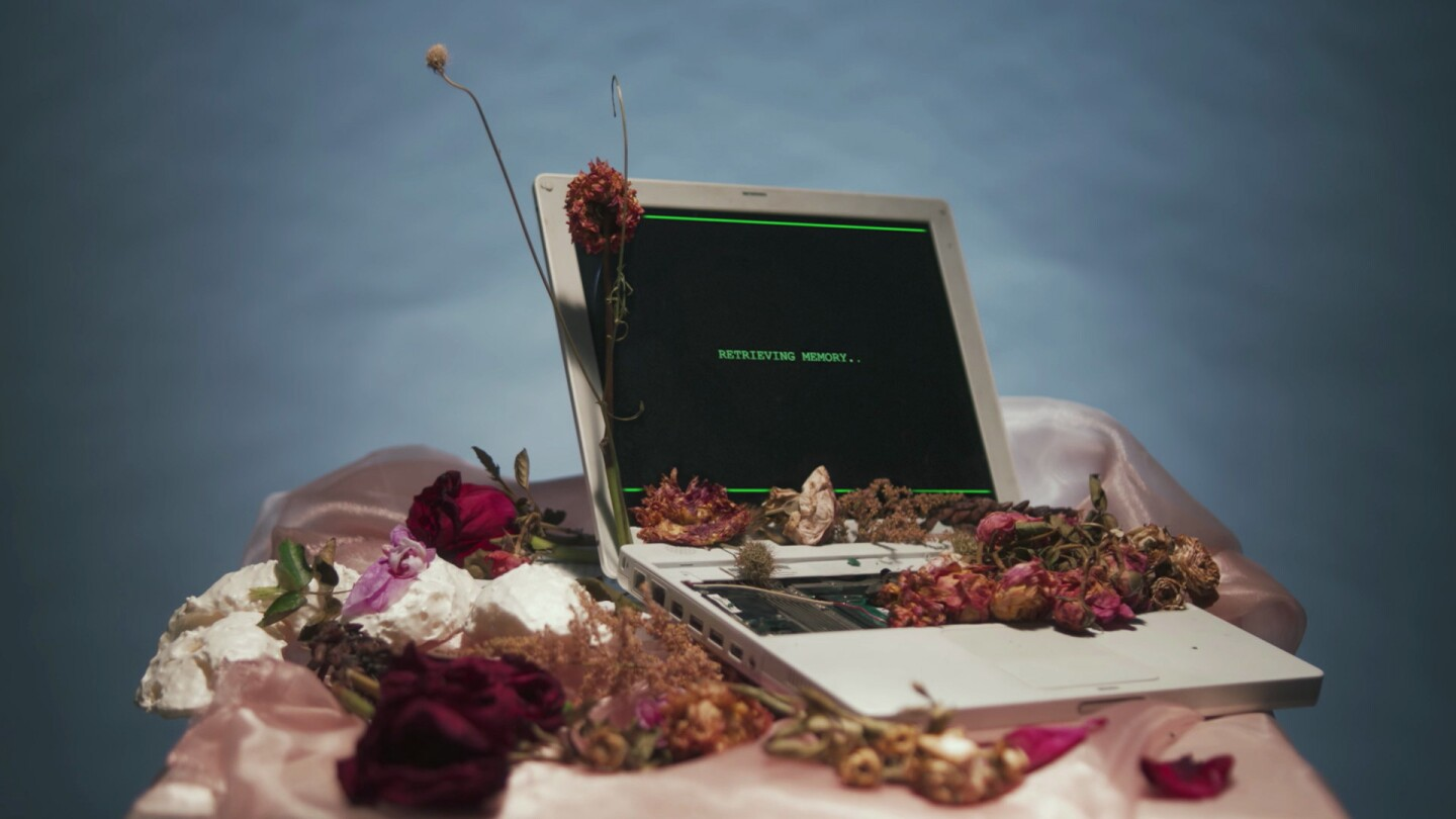 "Still from Border Blaster Video: Computer on a Table with Dried Flowers Reads ""Retrieving..."""