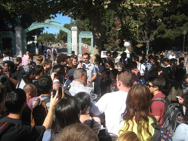 Media and crowds at the diversity bake sale at UC Berkeley