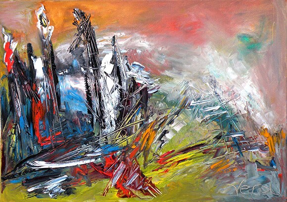 """""""Past and Future"""" by Vera Arutyunyan, 2010, oil on canvas, 18x24""""   Courtesy of the artist"""