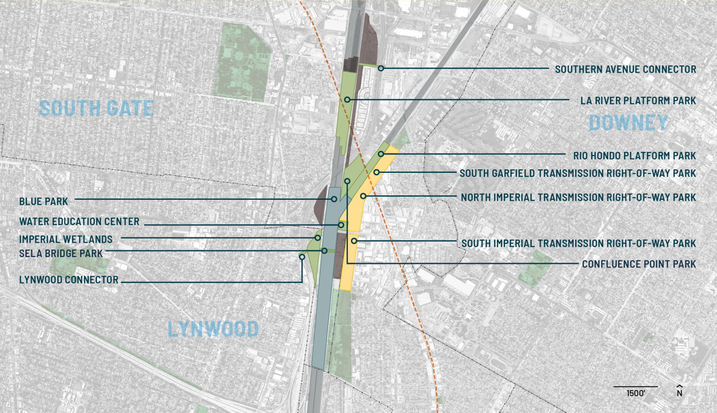 A map showing different planned park projects in South Gate, Lynwood and Downey areas.