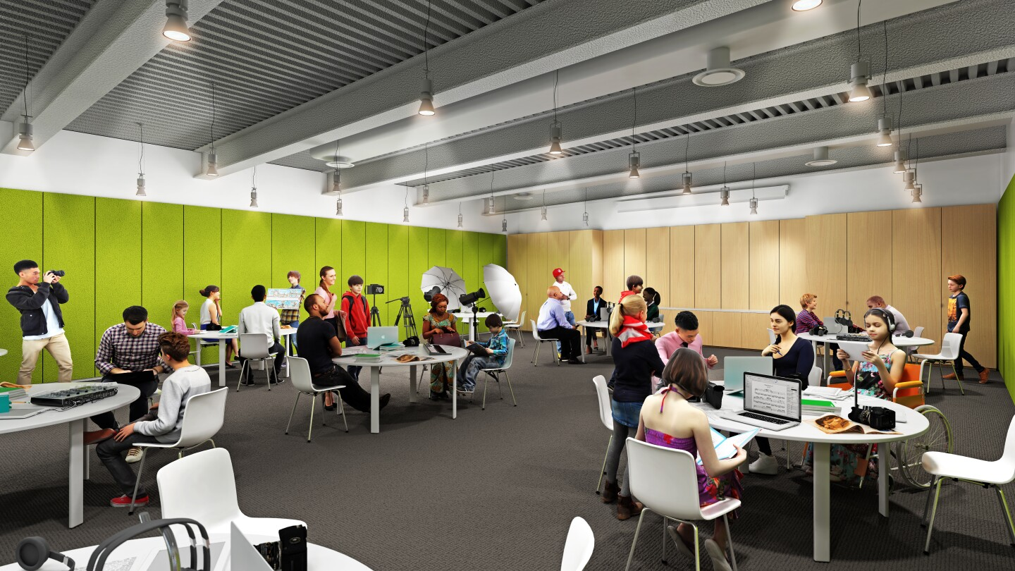 A rendering of the Shirley Temple Education Center at the Academy Museum of Motion Pictures set to open Sept. 30. The image depicts museum-goers in a room with bright green walls. The people depicted in this rendering are seated in round tables and are working with several film equipment like lighting set-ups, laptops and cameras.