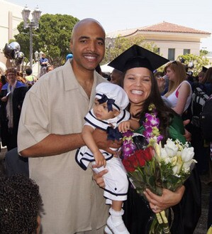 Virgil, Mila, and Michelle, on the occasion of Michelle's Master's degree graduation ceremony from Pacific Oaks College in Pasadena. She received her undergraduate degree from UCLA. Photo courtesy Michelle Covington