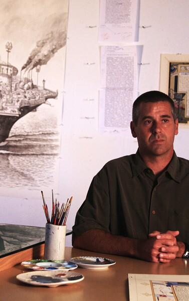 Sandow Birk at his studio