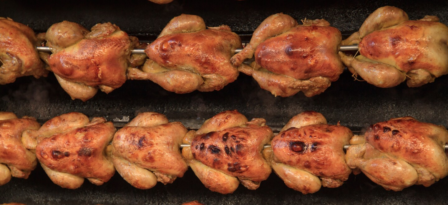 Chickens on the rotisserie