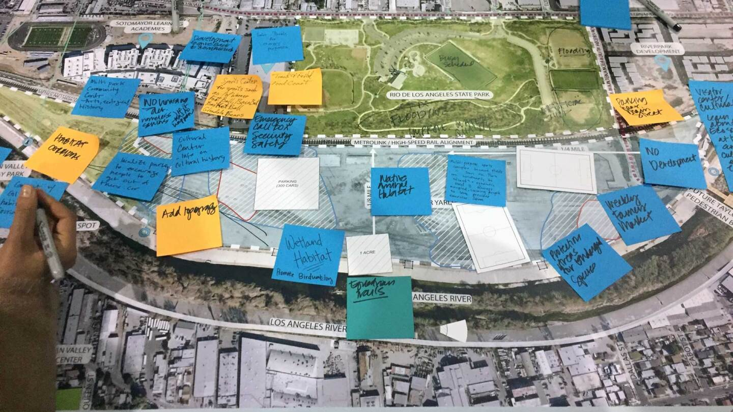 Notes marking public input on map of Taylor Yard. (large) | Jaqueline Sordi