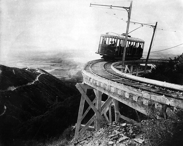 View from the Alpine Division section of the Mount Lowe Railway in an area known as the Circular Bridge. | Courtesy of the Los Angeles Public Library