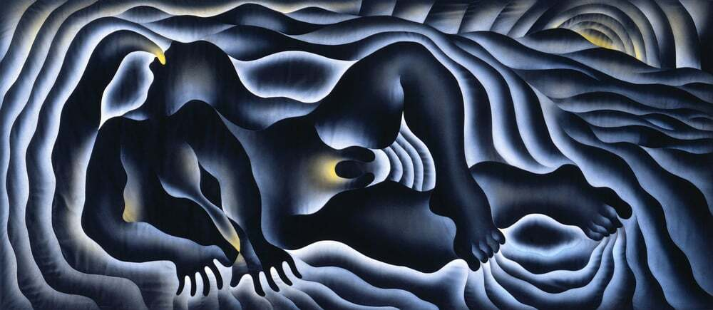 """Judy Chicago, """"The Creation"""" from the Birth Project, 1984. Modified Aubusson tapestry 42 x 163 inches 