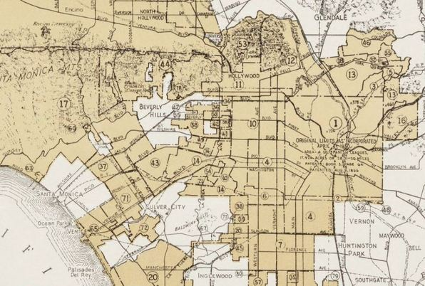 Detail of a 1935 map delineating the City of Los Angeles's territorial annexations. Courtesy UCLA Young Research Library.