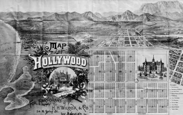 The intersection of Hollywood and Vine appears on this 1887 map as Prospect and Weyse, circled in pencil. Courtesy of the Photo Collection - Los Angeles Public Library.