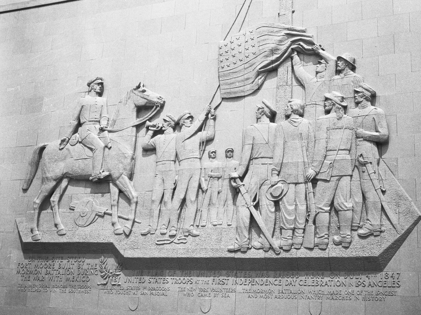 Fort Moore frieze depicting Los Angeles' first Fourth of July celebration