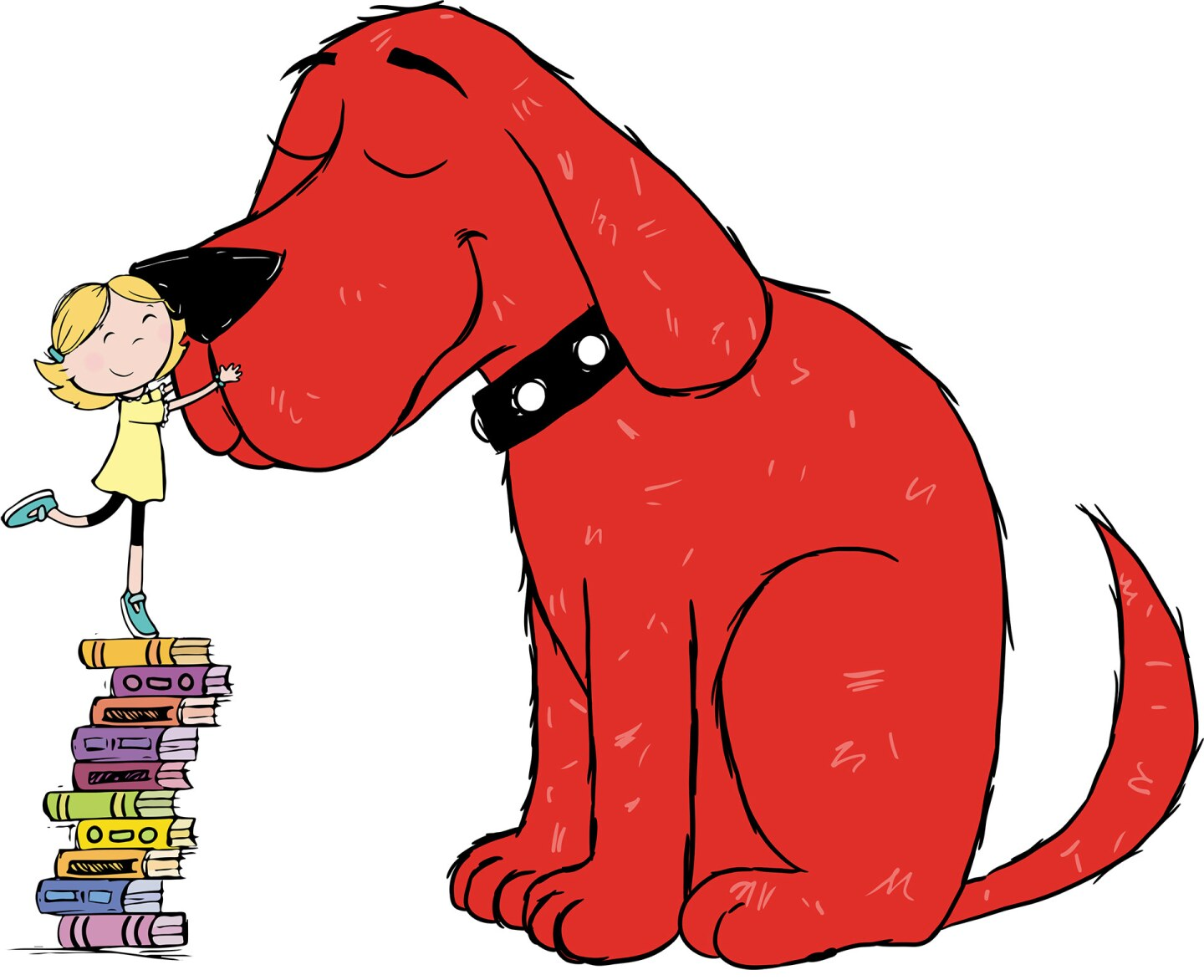 A large cartoon dog get a hug on his nose from a small girl standing atop a pile of books to reach him.