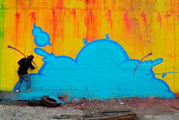 Residents of Skid Row Housing Trust wanted the mural to be bright and uplifting, said Daniel Lahoda. | Photo: MOCA.