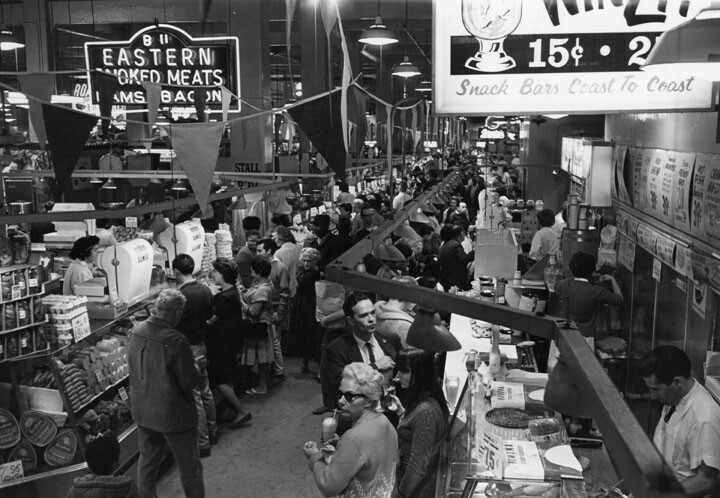 Busy aisles at Grand Central Market c. 1966 | William Reagh Collection at the Los Angeles Public Library