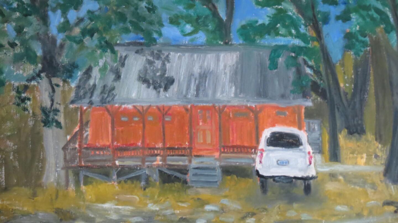 Painting by Vincent Bernardy of Suzi Bliss' lakeside studio.