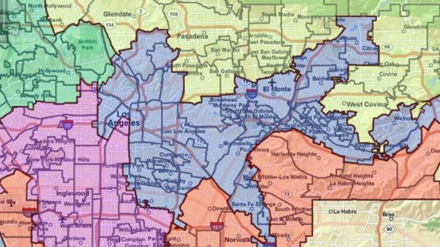 Detail of the approved 2011 redistricting plan for Los Angeles County