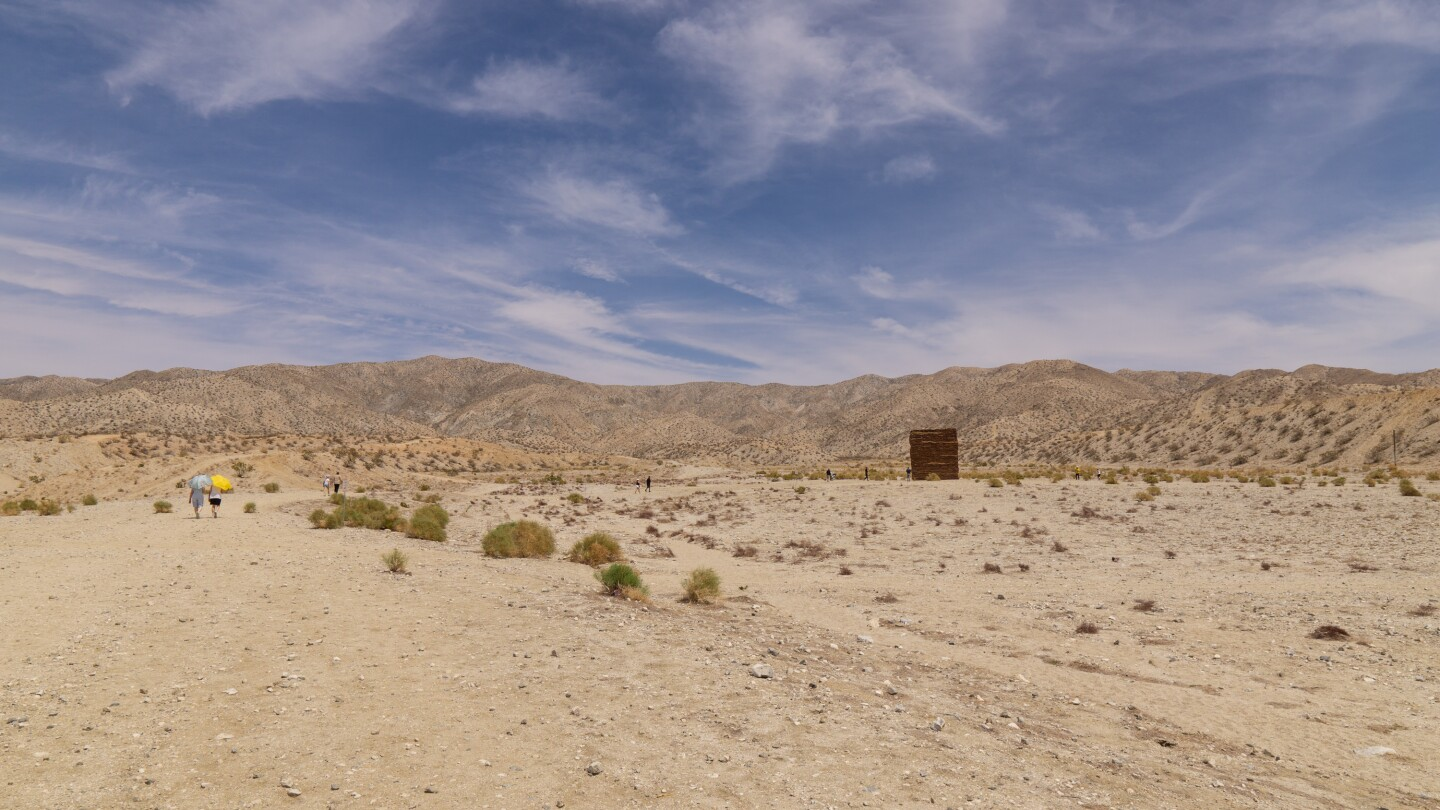 "Zahrah Alghamdi's installation ""What Lies Behind the Walls"" for Desert X 2021 stands in Desert Hot Springs."