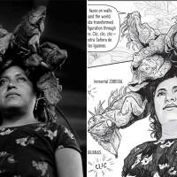 Nuestra Señora de Las Iguanas, Juchitán, Oaxaca, 1979 (Our Lady of the Iguanas, Juchitán, Oaxaca) by © Graciela Iturbide and Pages of PhotoGRAPHIC   © J. Paul Getty Trust. Text: © Isabel Quintero. Illustrations: © Zeke Peña PST LA/LA