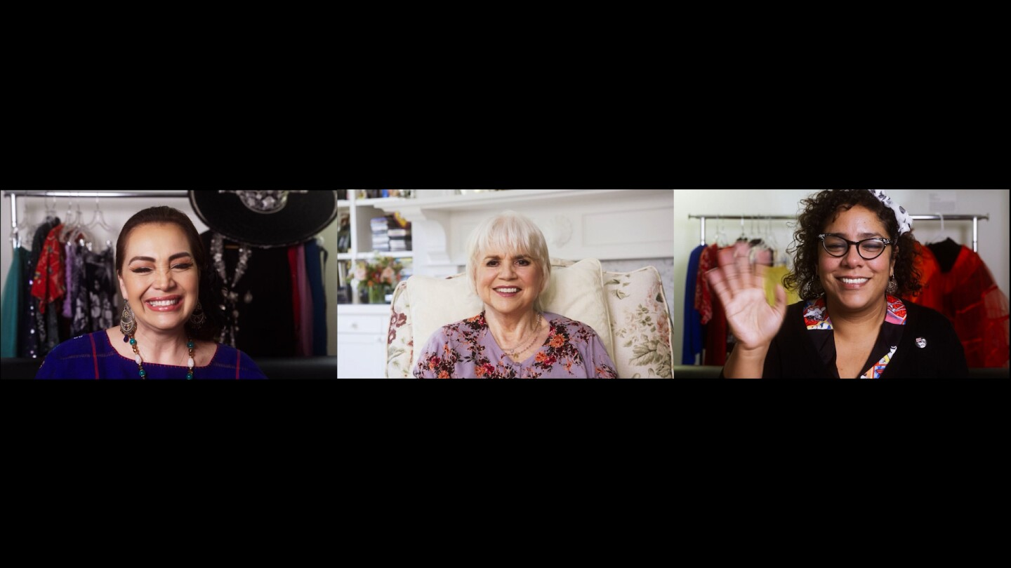 """Aída Cuevas, Linda Ronstadt and La Marisoul in conversation   Still from """"Southland Sessions"""" A Tribute to Linda Ronstadt"""