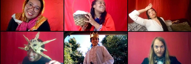 The Wallis Studio Ensemble presents Fairyland Foibles, featuring (top row L-R) Ella M Joseph, Kendell Byrd, Tiana Randall Quant; (middle row L-R) Trecey Dory, Kelvin Morales, Alexander Sheldon | M. Dahm