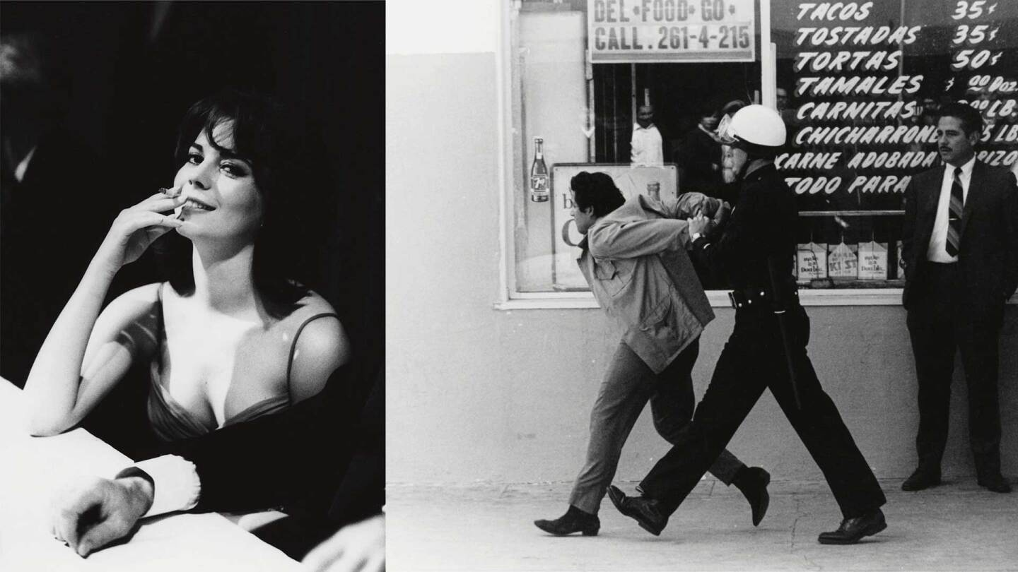 (Left) George Rodriguez, Natalie Wood, Golden Globe Awards, Los Angeles , 1962. (Right) George Rodriguez, LAPD arresting a Chicano student protester, Boyle Heights , 1970. | Courtesy of the artist