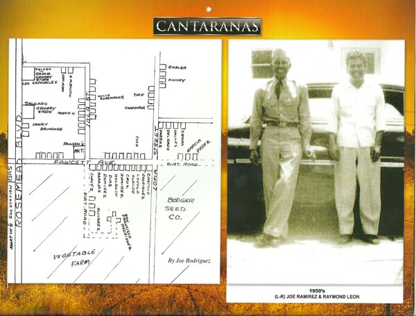 Map of Canta Ranas, with two of its residents | Photo courtesy of La Historia Society