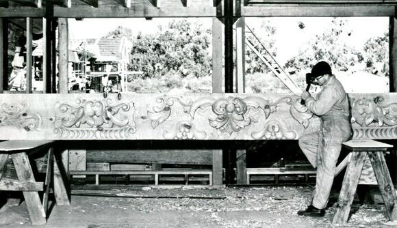 Bavarian woodcarver Alexander Zeller works on a piece for the Madonna Inn in San Luis Obispo. | Photo: Courtesy of Madonna Inn.