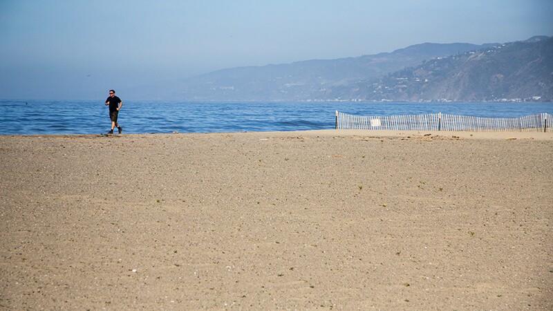 A runner passes a restored patch of the beach in Santa Monica.   Photo: Jason Goldman
