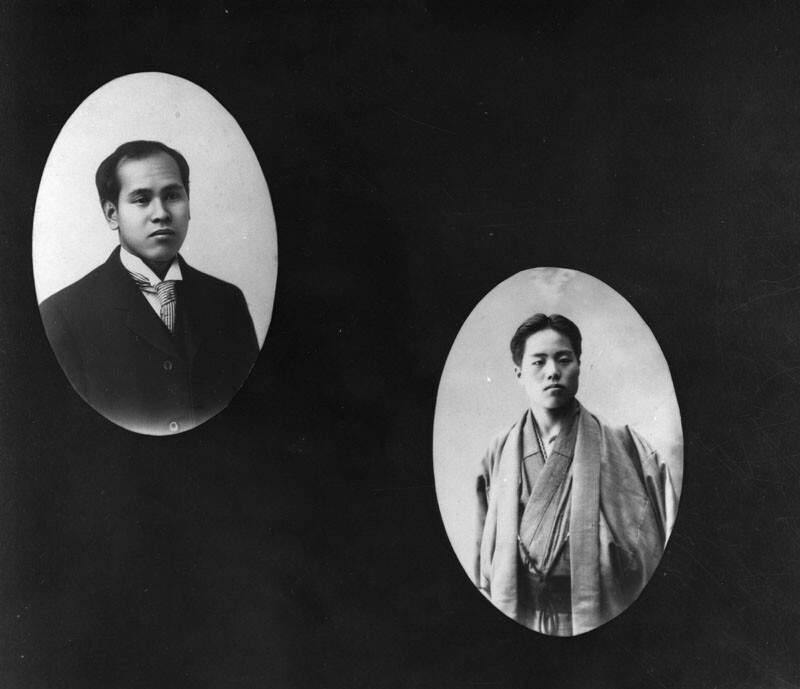A loophole in the Gentlemen's Agreement allowed single Japanese American bachelors, like the two shown here, to find a wife in Japan to come live with them in the United States | Image Courtesy the Los Angeles Public Library
