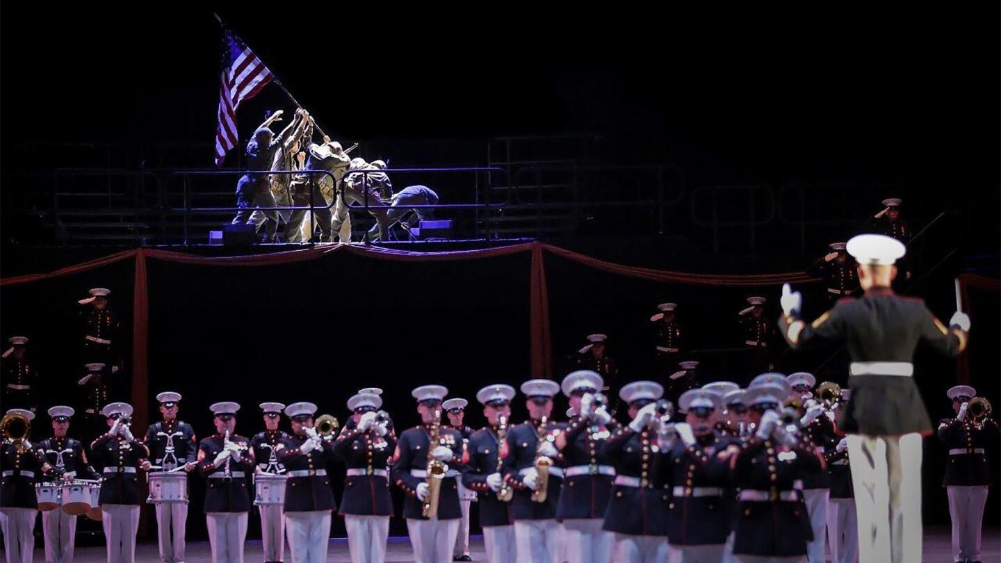 Marine band playing on stage.