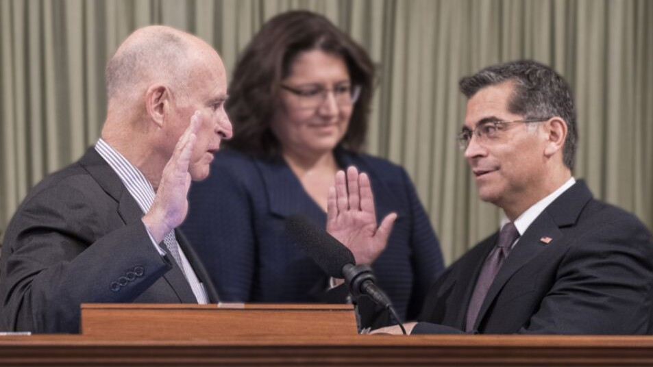Gov. Jerry Brown swears in California Attorney General Xavier Becerra | photo via Office of the Governor