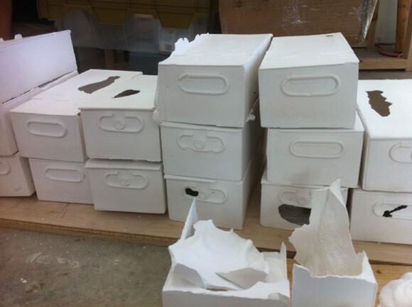 Plaster casts of safe deposit boxes in Liz Glynn's studio | Photo: Sharon Mizota.