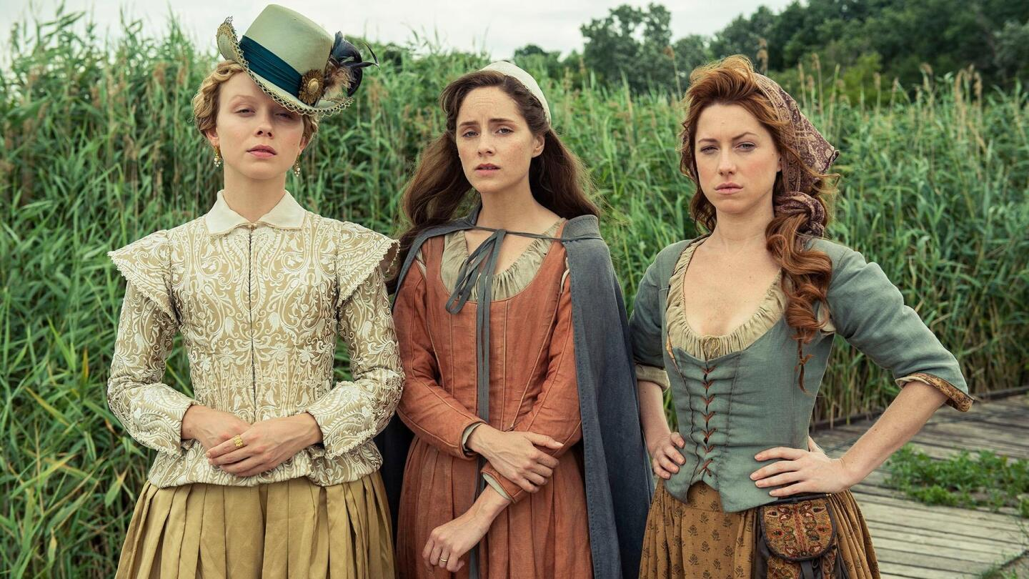 """Three female characters from """"Jamestown"""" stand side-by-side."""