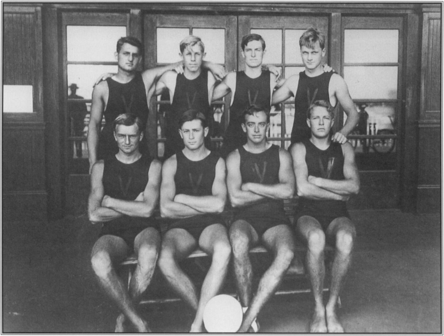 George Freeth encouraged the playing of water polo to condition members of the Venice Volun teer Lifesaving Corps for the rigors of ocean swimming.