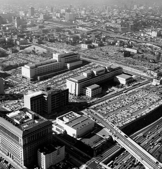 1960s aerial view of Los Angeles Civic Center and its massive surface parking lots
