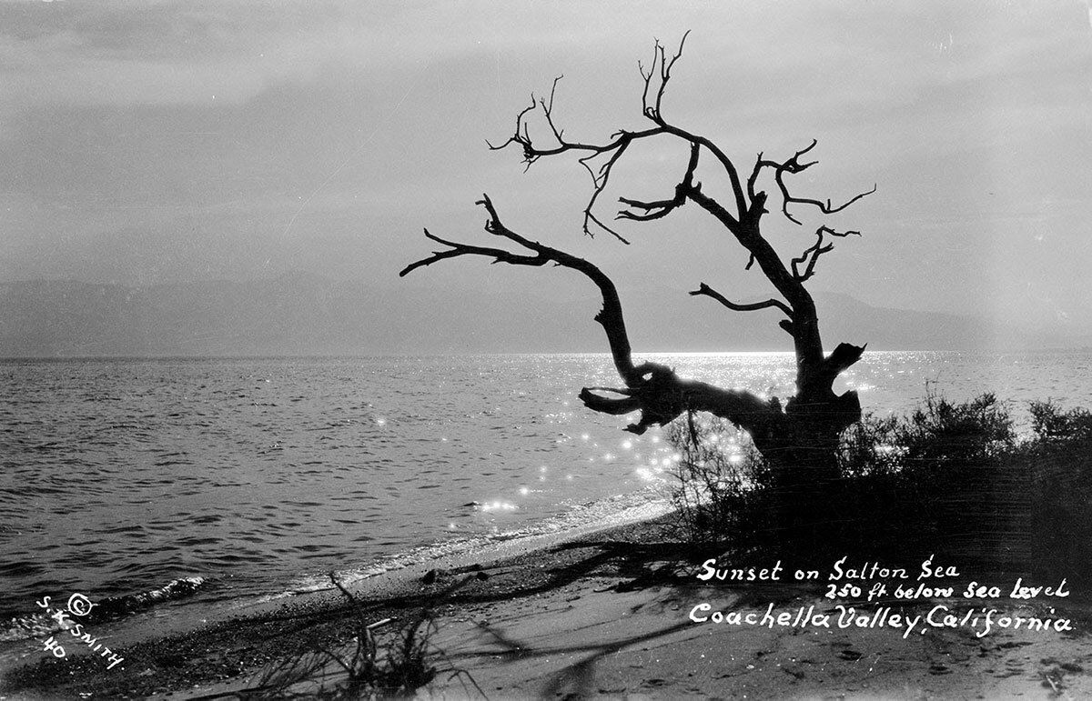 """Sunset on Salton Sea 250 ft. below Sea Level"".  