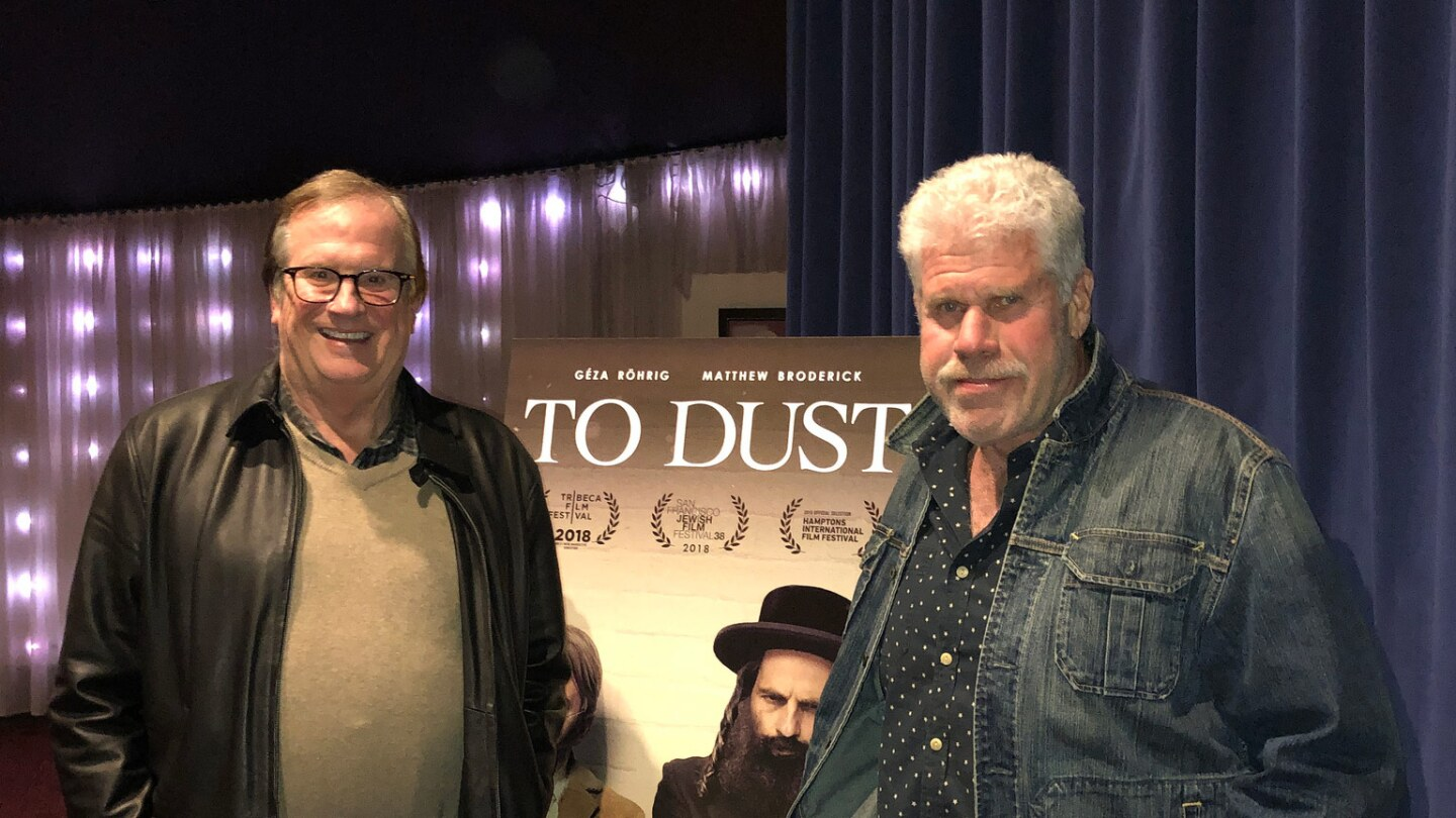 """Cinema Series host Pete Hammond and Actor/Producer Ron Perlman after a screening of """"To Dust"""""""
