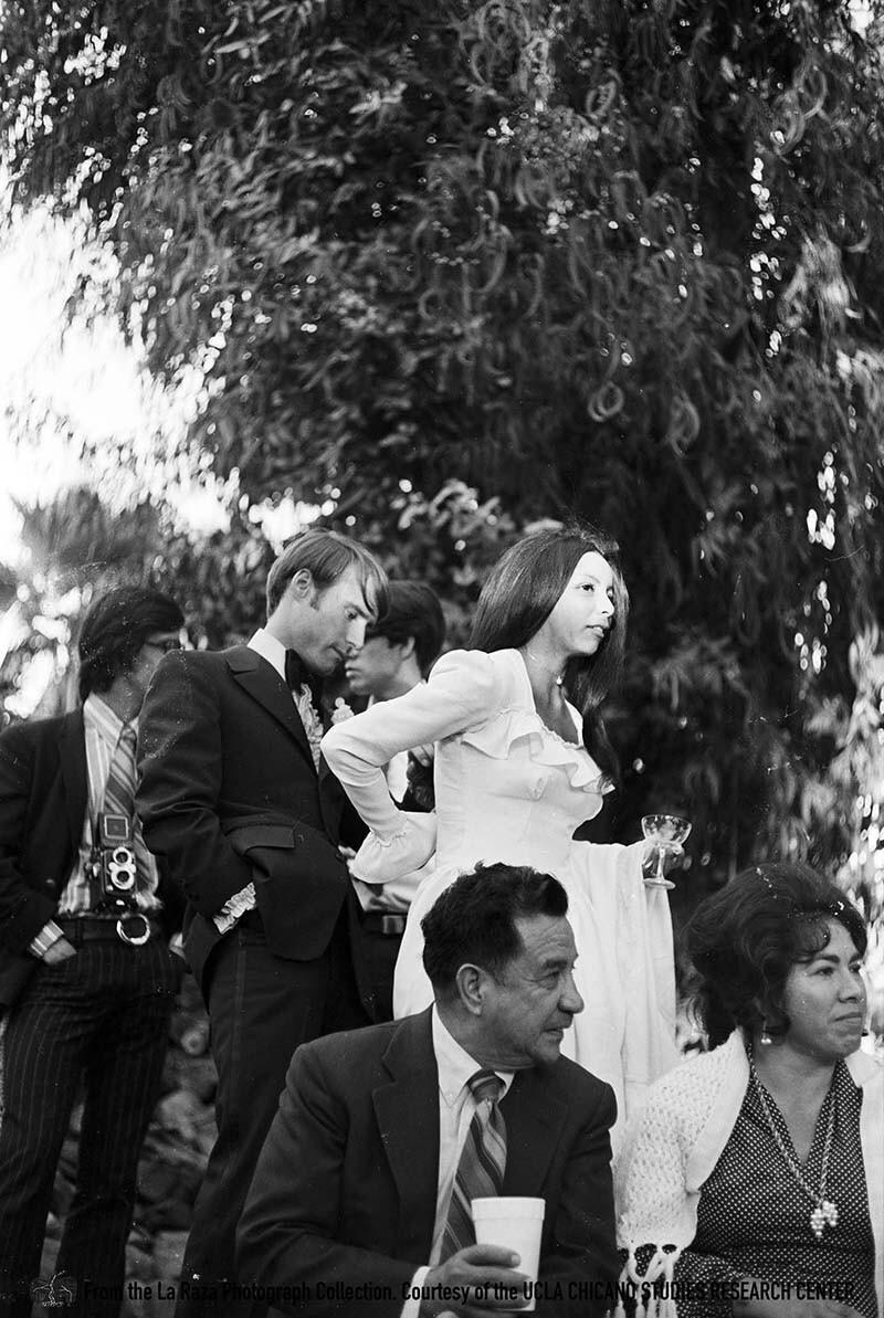 CSRC_LaRaza_B4F3C1_Staff_025 Bride and groom   La Raza photograph collection. Courtesy of UCLA Chicano Studies Research Center