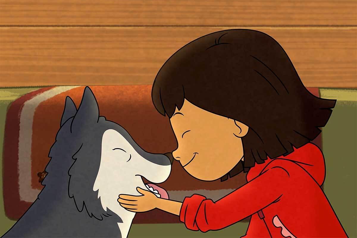 Cartoon of a little girl nuzzling a dog.
