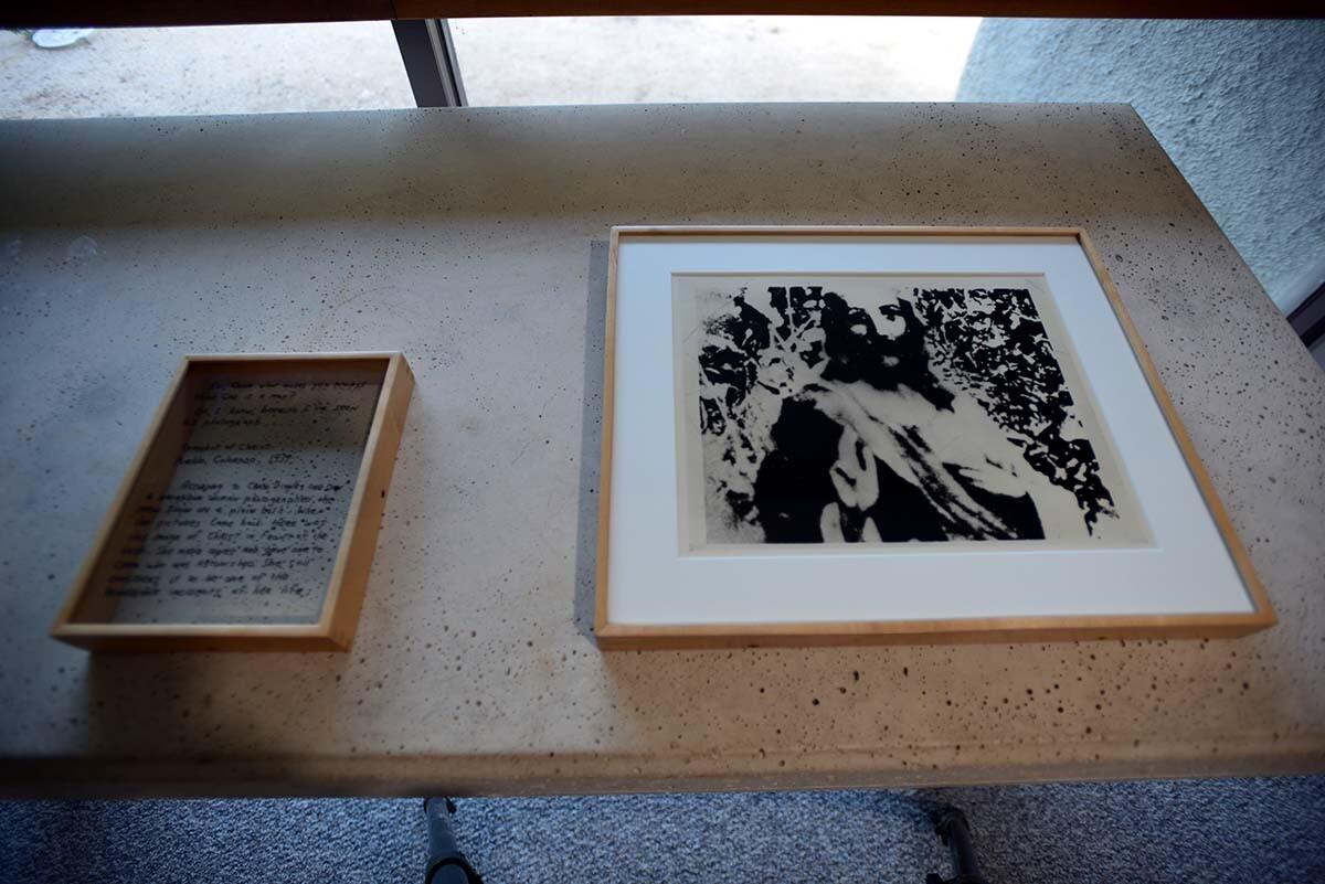 "Kim Dingle, ""The Cram Dingle Snow Vision,"" 1991, photograph, pen  | Courtesy of Irenic Projects"