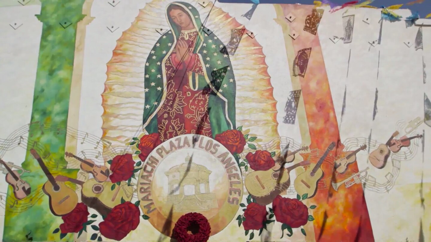 Virgen of Guadalupe mural near Boyle Heights' Mariachi Plaza