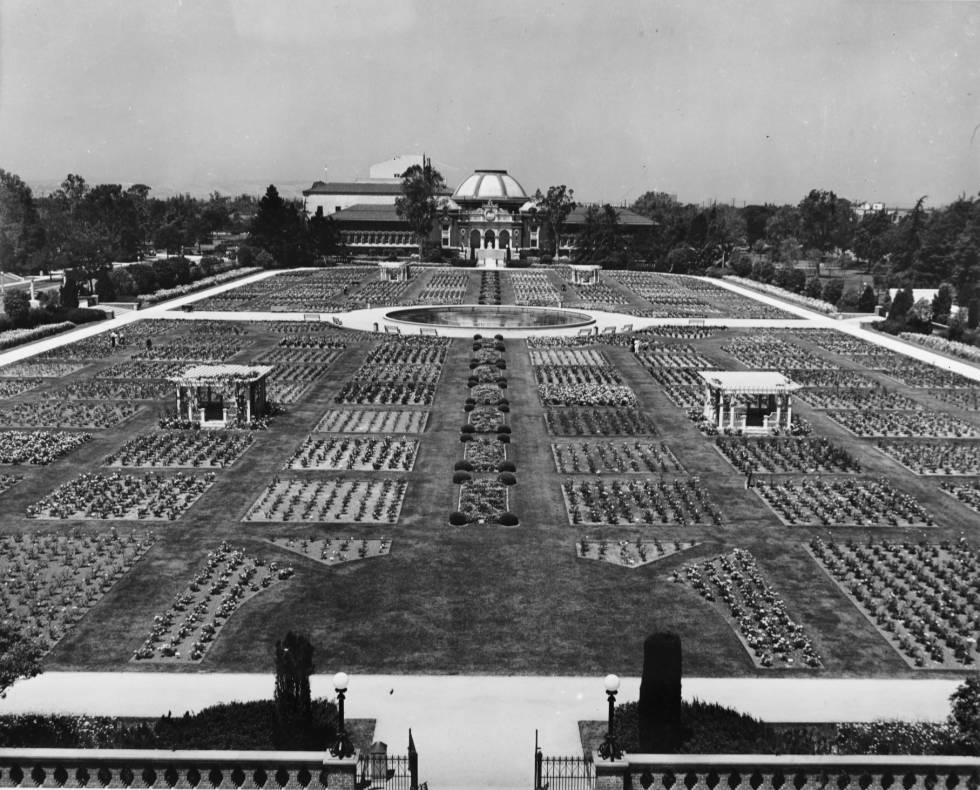 View of entire Rose Garden at Exposition Park
