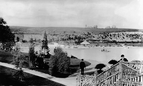 Another early photograph of the park, taken circa 1892. Courtesy of the Title Insurance and Trust, and C.C. Pierce Photography Collection, USC Libraries.