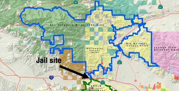Whitewater Jail location relative to San Jacinto Natl.Mon. (green outline) and Sand To Snow N.M. (blue outline)   adapted from a map by californiadesert.org