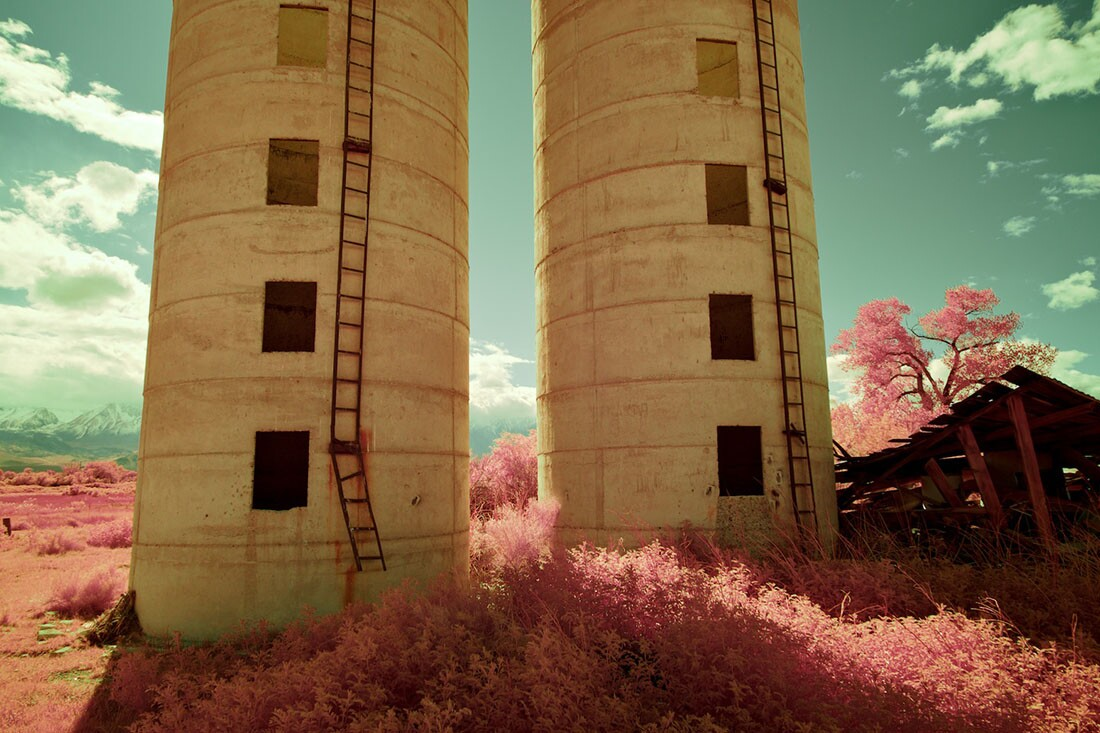 Twin Silos, Collapsed Building & Pink Foliage - Color/Infrared Exposure- Bishop, CA -2016   Osceola Refetoff