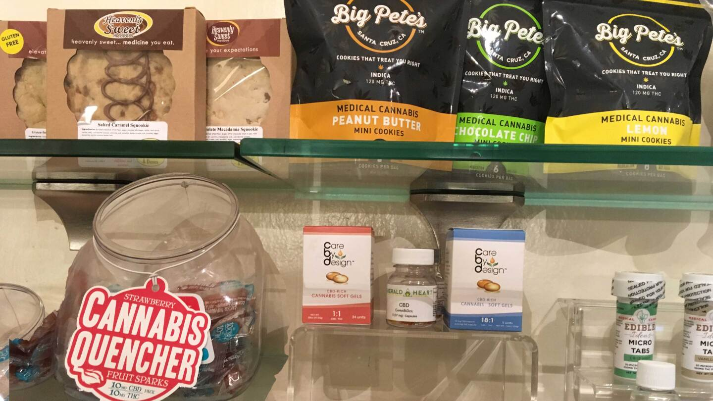 Name-brand cannabis products are on display at a dispensary in Sacramento called A Therapeutic Alternative | photo by Laurel Rosenhall