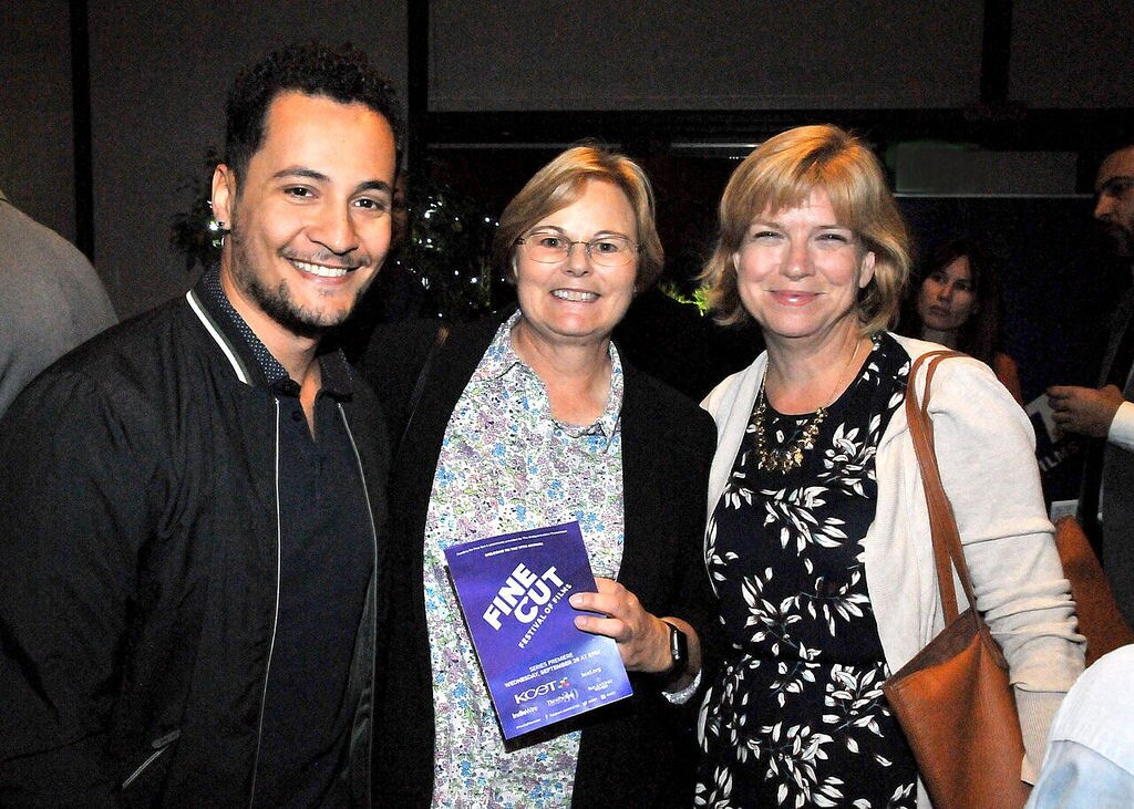USC student filmmaker Omar Al Dakheel with the American Pavilion's Monica Skerbelis and Lynne Howard at FINE CUT Festival of Films at the Directors Guild of America