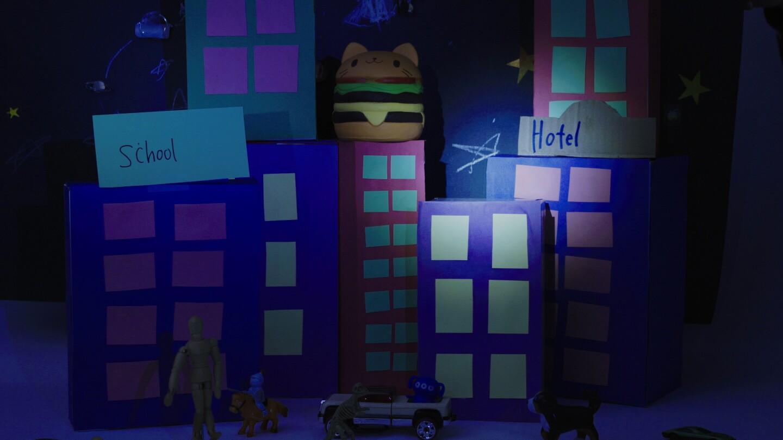 A nighttime cardboard city