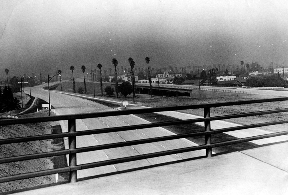 The 101 freeway's wide median at Vermont is a remnant of the Beverly Hills Freeway interchange that never materialized. Courtesy of the Herald-Examiner Collection - Los Angeles Public Library.