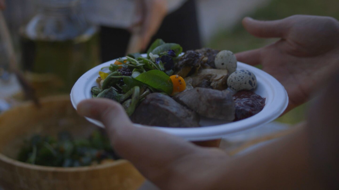 "An Ohlone dish prepared by mak–'amham. | Still from ""Tending Nature"""