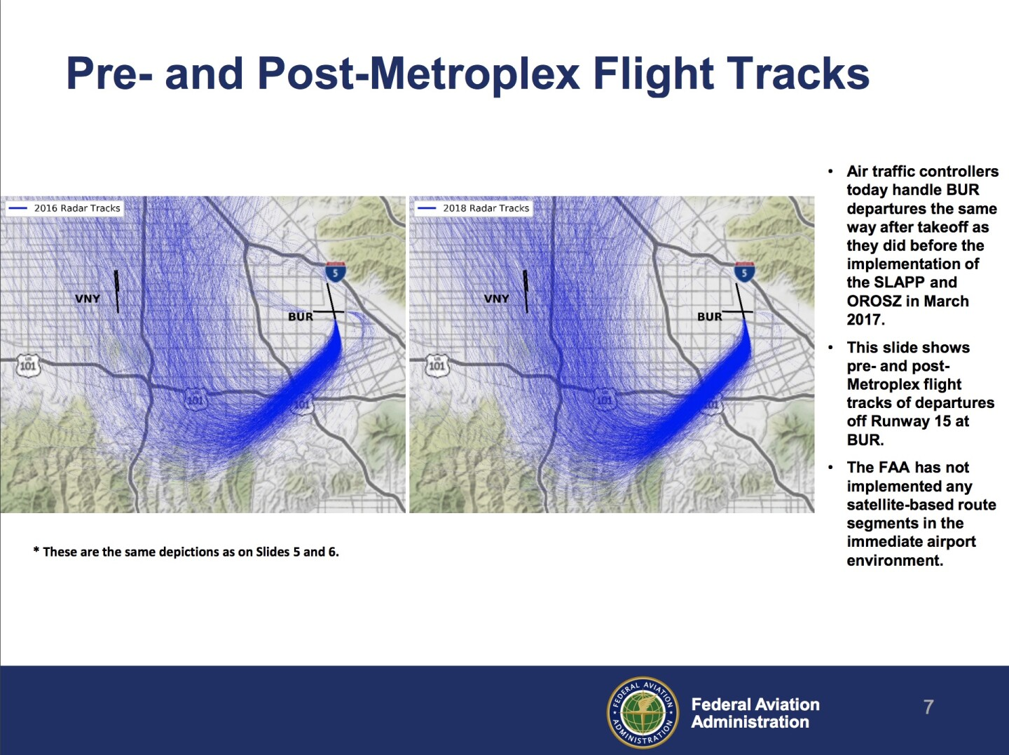 Graphic of Pre and Post Metroplex Flights released by FAA